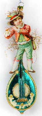 Reserved for Melissa – Flute-Playing Boy on Exquisite Antique Green Mandolin