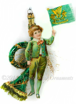 Reserved for Brenda – Boy with Irish Flag on Green Horn St. Patrick's Day Ornament