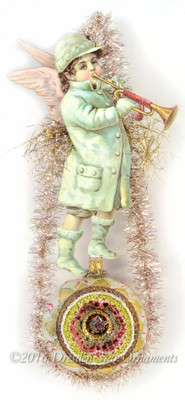 Reserved for Susan – Large Snow Angel Blowing Horn on Elaborate Indent Ornament