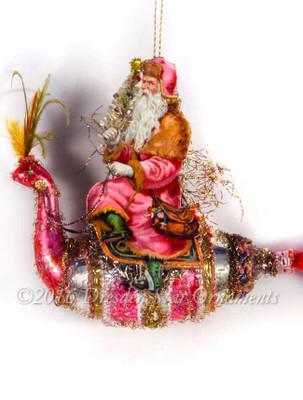 Pink Santa Riding Flamboyant Pink and Silver Peacock