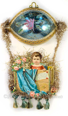Stunning Girl with kitty in Gilded Blue Dirigible with Painted Rose