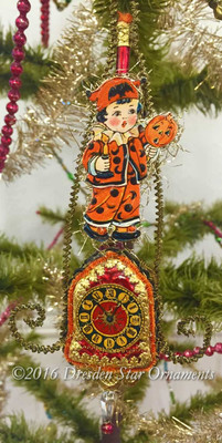 Reserved for Melissa – Boy in Halloween Costume on Figural Glass Clock Ornament