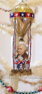 Reserved for Brenda – President Adams in Patriotic Hot Air Balloon with Fancy Silver Paper Basket