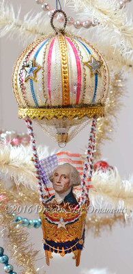 Reserved for Brenda – President Washington in Antique Patriotic Balloon with Dresden Paper Basket
