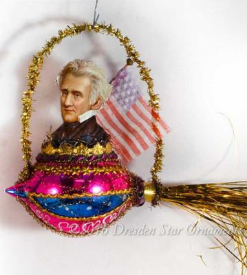 "President Jackson Riding Glass ""Rocket"" Ornament with Antique Silk Flag"