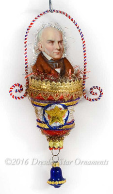 President John Quincy Adams in Patriotic Molded Glass Bell Ornament