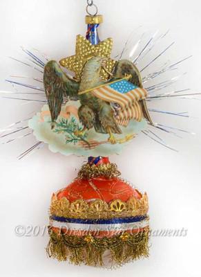 Antique Patriotic Single-Balloon Ornament with Eagle Emblem