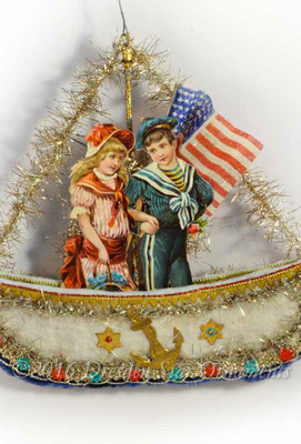 Children with Rare Linen Flag in Cotton Batting Patriotic Sailboat Ornament