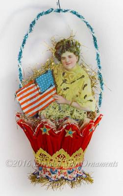 Patriotic Edwardian Girl in Fancy Paper Basket Ornament