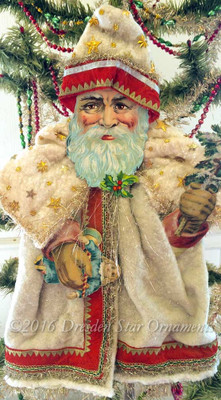 Reserved for Dennis – Santa with Toys in Cotton Batting Cloak & Twinkling Stars