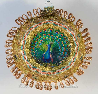 Peacock in Ornately Decorated Gold Indent with Multi-colored Silk Ribbon
