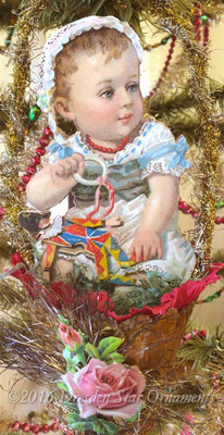 Victorian Baby in Antique Gold Paper Basket With Original Crepe Paper Ruffle