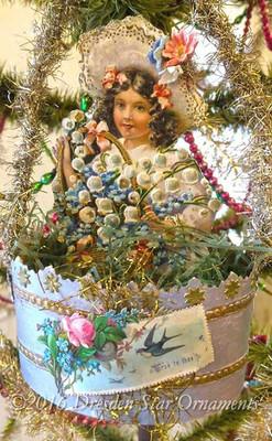 "Original Antique ""Shabby-Chic"" Paper Basket with Victorian Girl Holding Flower-Basket"