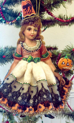 Reserved for Melissa – Victorian Girl in Cotton Halloween Costume with Antique Paper and Pumpkin