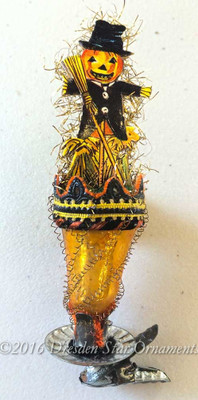 Reserved for Brenda – Scare-Crow On Halloween-Themed Gold Bell Clip-On Ornament