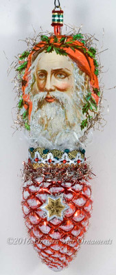 Sparkling Santa with Soft Red Hood on Red Pinecone Ornament