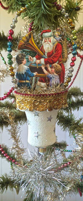 Santa Playing Phonograph for Children Inside White Frosted Bell Ornament