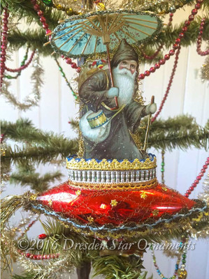 Santa with 3-D Paper Parasol on Imaginative Red Rocket Clip-On Ornament