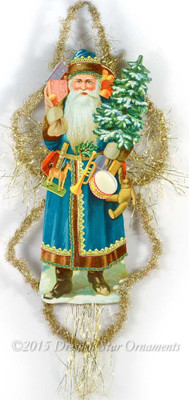 "Spectacular 13"" Blue Santa Holding Toys with Victorian Tinsel Treatment"