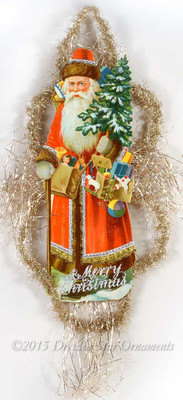 "Spectacular 13"" Red Santa Holding Toys with Victorian Silver Tinsel Treatment"