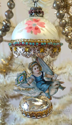 Girl Riding Dove on Exquisitely Decorated Glass Lamp