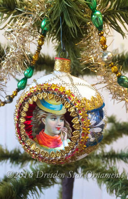 Young Lady with Cap in Frosted Blue and White Indent Ornament