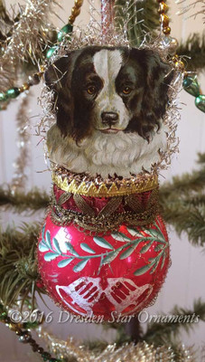 Adorable Dog on Mid-Century Red Sphere Ornament