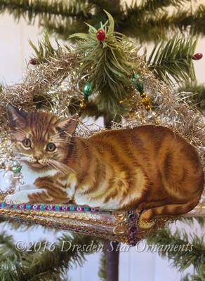 Lifelike Tabby Cat Balancing on Antique Glass Parasol Ornament