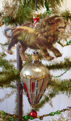 Reserved for Courtney – Prancing Lion on Multicolored Glass Cone Ornament