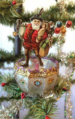 Reserved for Dennis - Clip-On Ornament with Skating Santa inside Rare Faceted Antique Glass Reflector Ornam