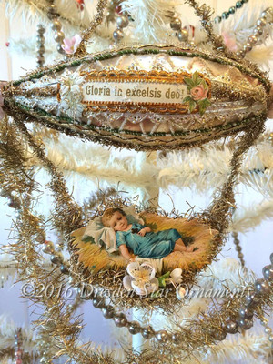 Reserved for Dennis - Baby Jesus Riding Glorious Elaborately Decorated Christmas Blimp With Flowers