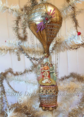 Baby Jesus with Angel Trio in Slender Gilded Hot Air Balloon with Antique Glass Basket