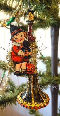 Reserved for Brenda – Little Boy on Festive Halloween Harvest Horn