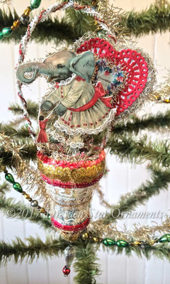 Little Girl Elephant with Dolly and Valentine on Glass Silver Bell Ornament