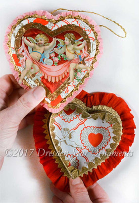 Pink and Red Heart Candy Container with Victorian Angels and Rare Valentine Paper