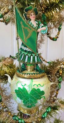 Girl Holding Irish Flag on Gorgeous Delicate Glass Teapot Ornament