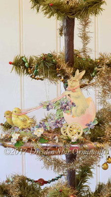 Reserved for Diana –Chicks pulling Bunny in 3-D Egg Chariot on Pink Glass Ornament with Floral Garland