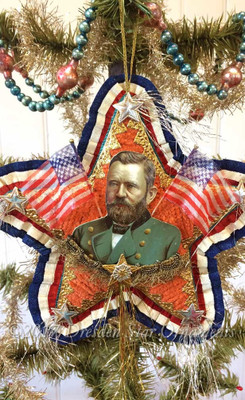 Reserved for Dennis – President Grant on Two-Sided Patriotic Chenille Star Ornament with Crossed Flags