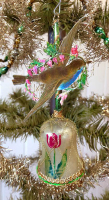 Reserved for Jennifer – Flying Bird with Bleeding Hearts on Tulip Bell Ornament