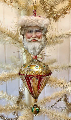 Reserved for Dennis – Beautiful Rare Santa with Fur-Lined Cap on Antique Parasol Ornament