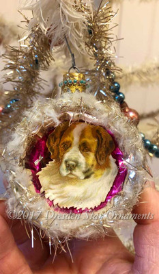 Reserved for Ruth - St. Bernard Dog in Soft Frosted Indent Ornament