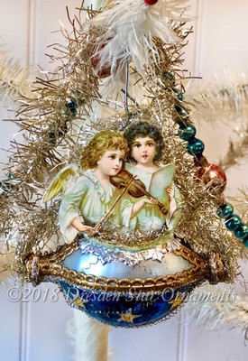 Musical Twin Angels On Starry Midnight Blue and Silver Glass Basket Ornament