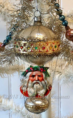 Festive Santa on Satin Pldastel Double-Balloon Ornament with Go Embossed Paper and Rhinestones