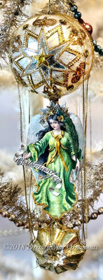Green Brunette Angel Riding Deluxe Double-Balloon with Elaborate Dresden Paper and Rhinestones