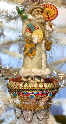Father Christmas with Tree and Parasol on Fabulous Antique Glass Bell Ornament