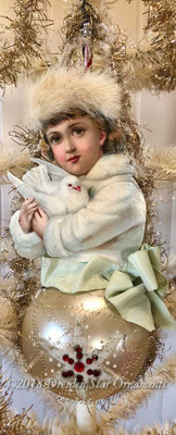 Reserved for Dennis – Breathtaking Snow Girl with Dove on Sphere Ornament with Rhinestones