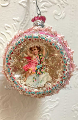 Victorian Angel in Delicate Pink and Silver Indent Ornament with Aqua Beads