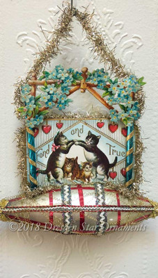Dancing Cats Valentine under Arbor of Flowers on Plaid Glass Boat Ornament