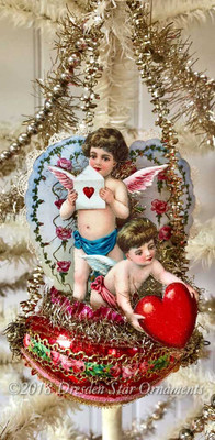 Cupids with Lace Valentine on Red Glass Basket with Antique Loop Tinsel Garlan