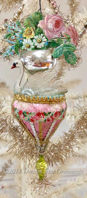 Swan in Two-Tiered Silver and Pink Fountain Ornament with Flowers